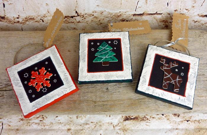 Drei Mini-Bilder 10x10 cm Keilrahmen als Weihnachtsgruß