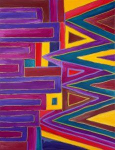"""Einfache Acrylbilder Idee """"Linien"""", gemalt auf Acrylmalblock 24x32cm"""