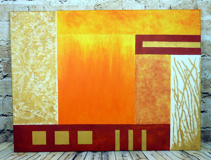 Abstraktes Acrylbild in Orange und Gold, Leinwand 80x60cm