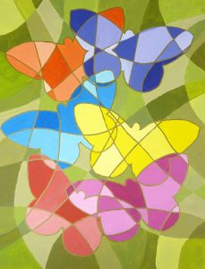 """Einfache Acrylbilder Idee """"Schmetterlinge"""", gemalt auf Acrylmalblock 24x32cm"""