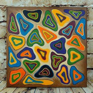 "Abstraktes Acrylbild auf Leinwand 40x40cm ""bunte Formen dreieckig"""