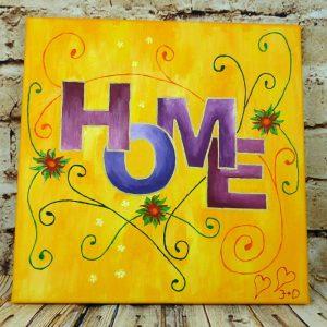 """Einfaches Acrylbild auf Leinwand 40x40cm """"HOME"""""""