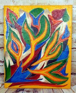 "Abstraktes Acrylbild ""bunte Flammen"" mit Strukturgel, Leinwand 40x50cm"