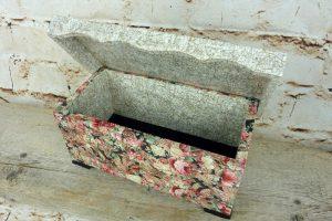 Holztruhen Upcycling mit Décopatch - Deckel offen