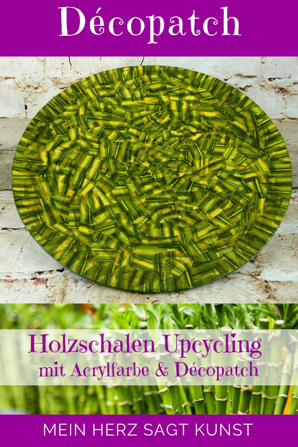Holzschalen Upcycling mit Acrylfarbe und Décopatch