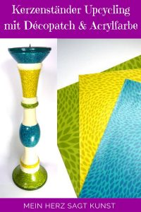 Kerzenständer Upcycling mit Décopatch und Acrylfarbe