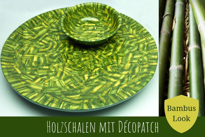 Holzschalen Upcycling mit Décopatch im Bambus Look