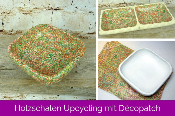 DIY Holzschalen Upcycling mit Décopatch Papier Ornamente-Muster
