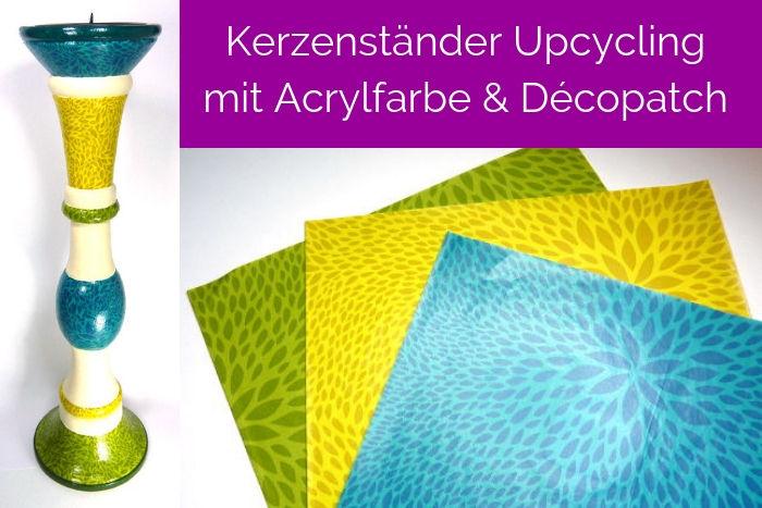 DIY Kerzenständer Upcycling mit Acrylfarbe und Décopatch