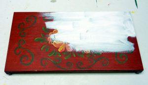 Holztruhen Deckel mit Acrylfarbe weiß grundieren