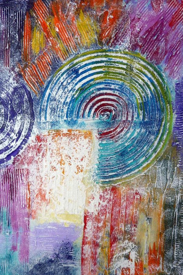 Abstraktes Acrylbild mit relifartiger Struktur fertig bemalt