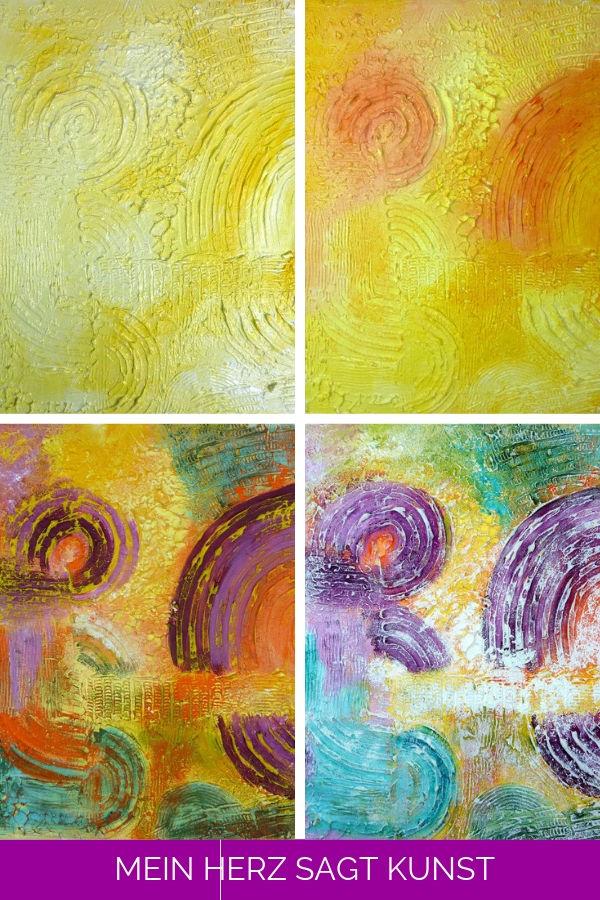 Abstraktes Bild mit Strukturpaste Schritt-für-Schritt bemalen