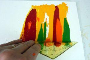 Geschabtes Acrylbild in orange, gelb, grün und rot