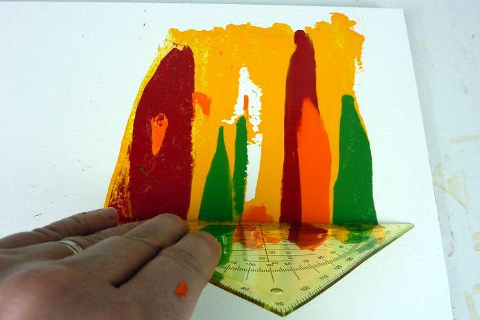 Acrylfarbe geschabt auftragen auf Papier
