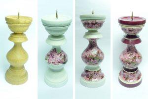 Kerzenständer Gestaltung mit Décopatch und Acrylfarbe