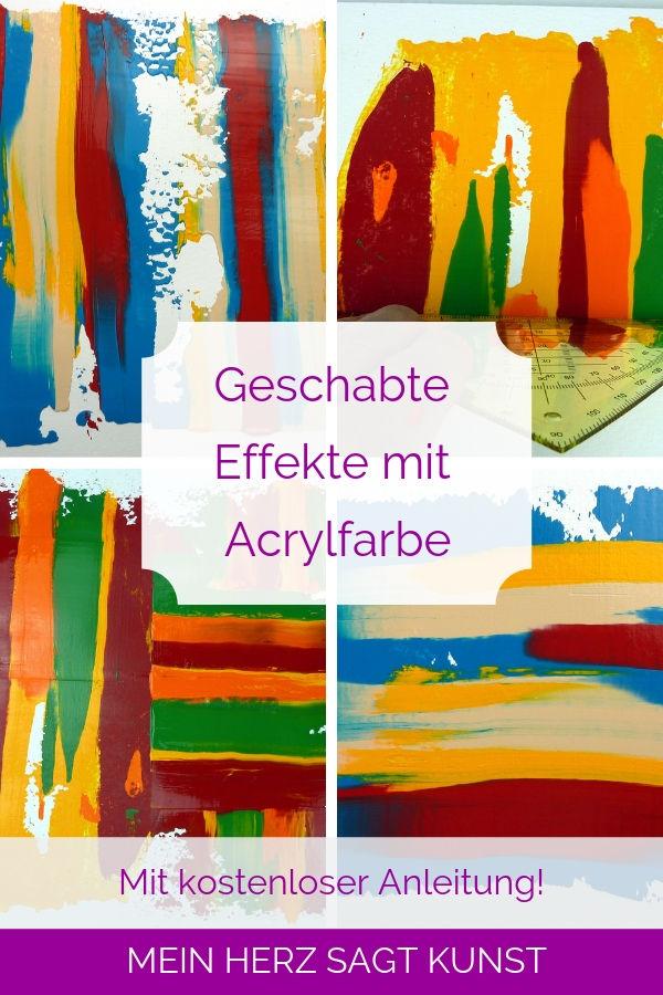 Acrylmalerei Technik: Geschabte Effekte mit Acrylfarbe