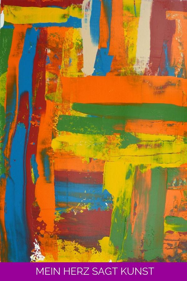 Abstraktes Acrylbild mit geschabten Effekten