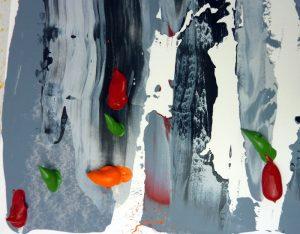 Geschabter Effekt mit Acrylfarbe - zweite Schicht vorbereiten