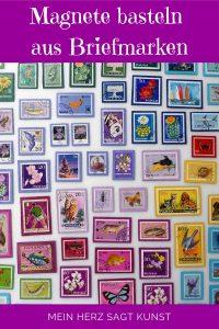 Magnete basteln mit Briefmarken und Magnetfolie