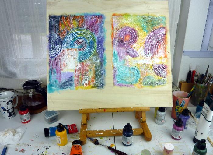 Mein Arbeitsplatz beim Malen