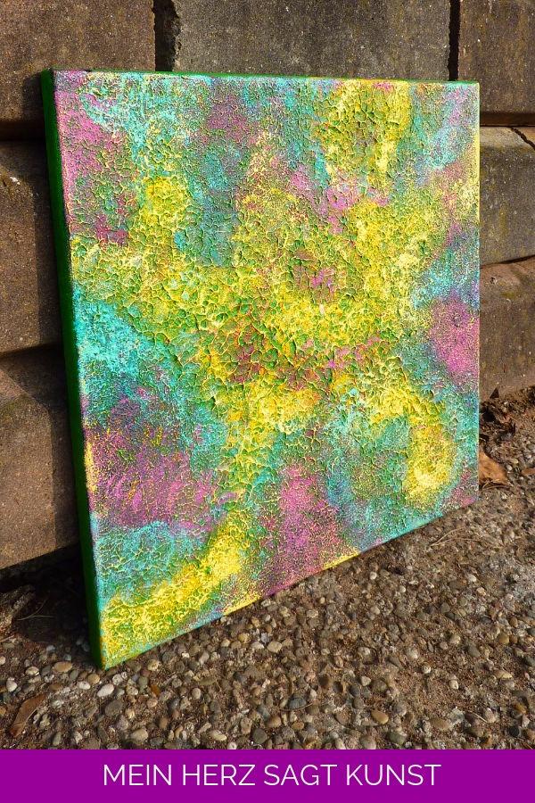Abstraktes Acrylbild mit Struktur 40x40 cm auf Leinwand