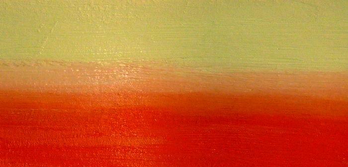 Perfekte Farbübergänge malen zwischen deckenden Acrylfarben. Farbtöne beige und orange.