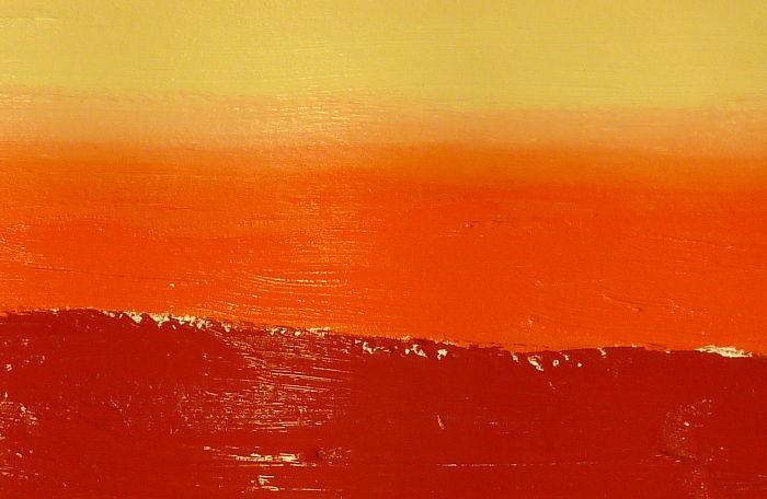 Perfekte Farbübergänge malen zwischendeckenden Acrylfarben. Farbtöne beige, orange und rot.