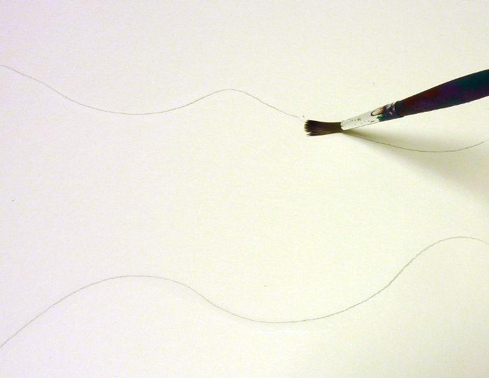 Schablonen herstellen - Mit Pinsel und Wasser Kontur nass machen