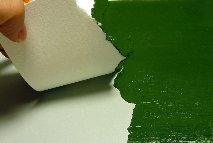 Gerissene Schablone abziehen - Silhouette in grün