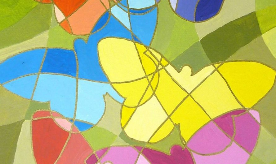 Einfache abstrakte Acrylbilder malen mit Schablonen und Linien