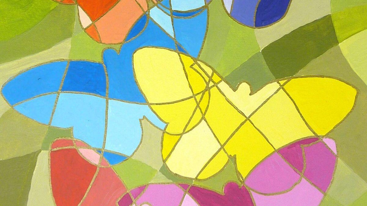 Bilder malen mit Schablonen und Linien
