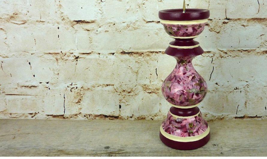 Kerzenständer Lieblingsstück dank Décopatch und Acrylfarbe