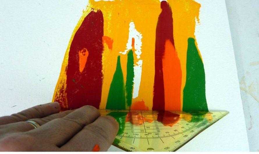 Geschabte Effekte mit Acrylfarbe – Einfache Acrylmalerei Technik