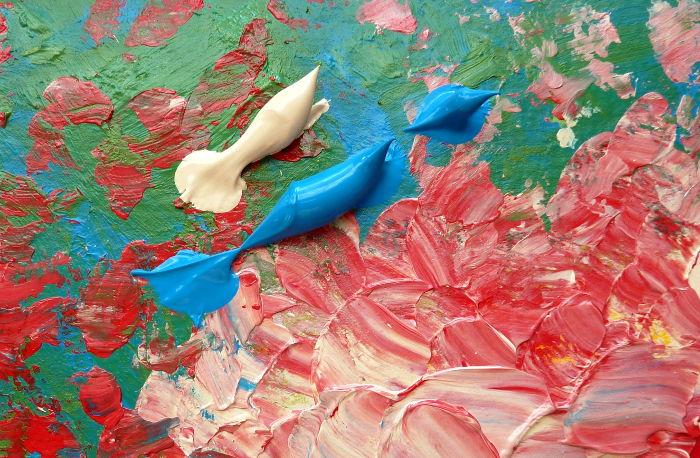 Acrylfarbe dirkekt auf dem Malgrund mischen