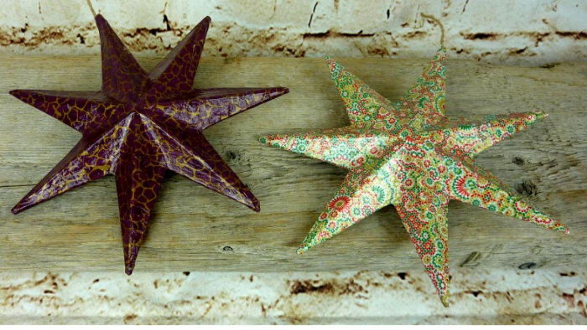Pappmache Sterne mit Decopatch gestalten