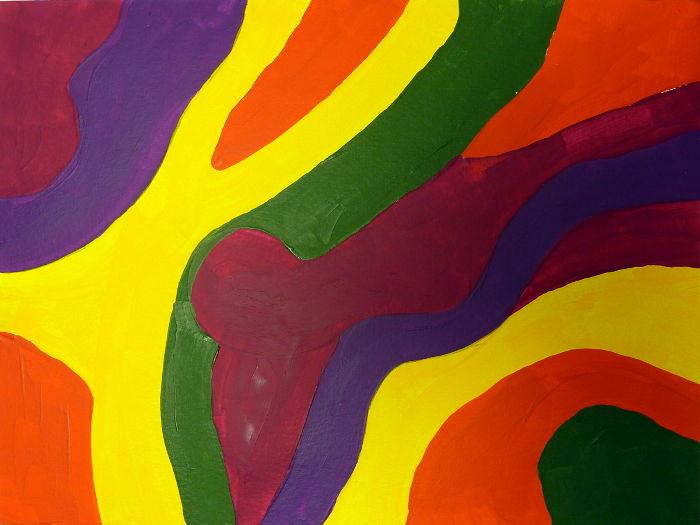 Erste Farbschicht für mein Sgraffito Acrylbild