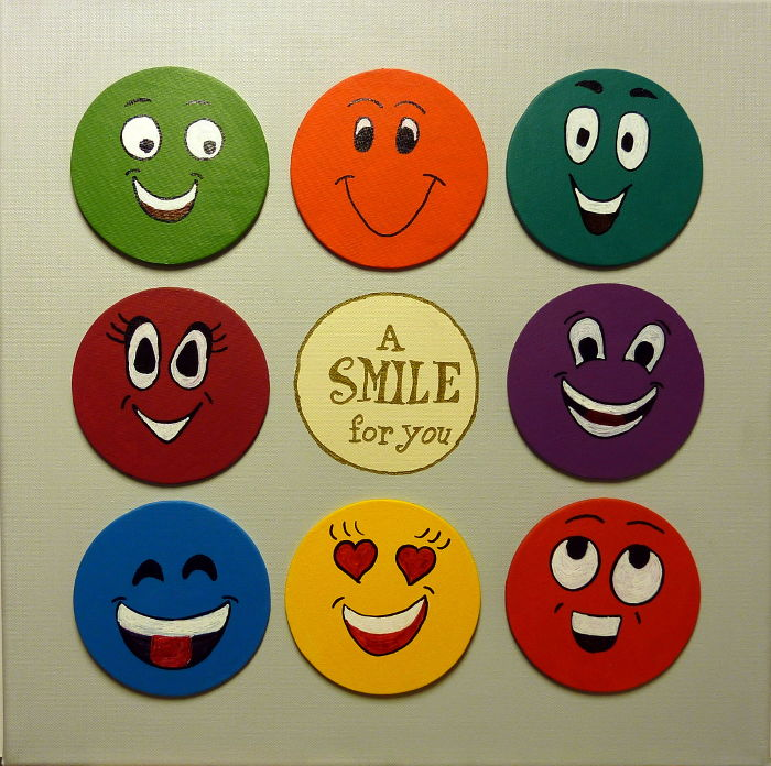 Smiley Magnetbild Leinwand 40 x 40 cm