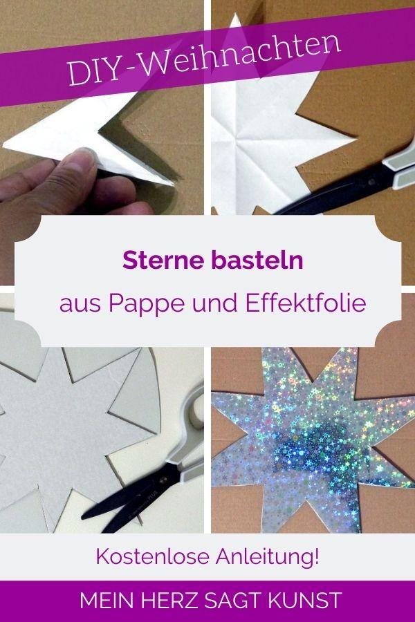 DIY-Weihnachtssterne basteln aus Pappe und Effektfolie
